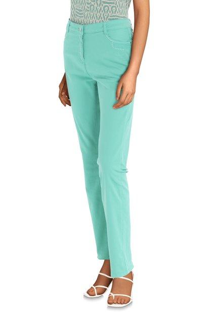 Pantalon vert à petites perles – straight fit