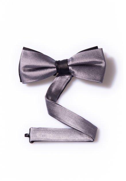 Petit nœud en soie gris avec détail noir