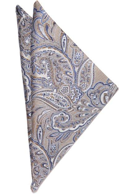 Pochette de costume beige motif paisley