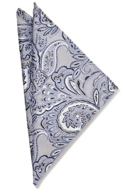 Pochette de cosume bleu clair motif paisley