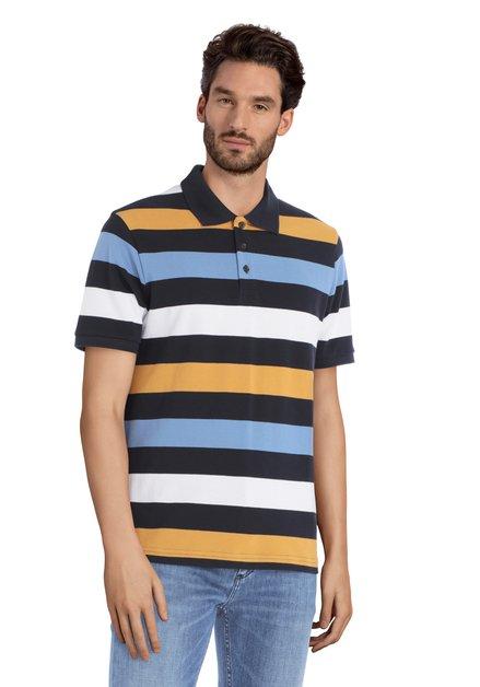 Polo à rayures bleu-jaune-beige à manches courtes