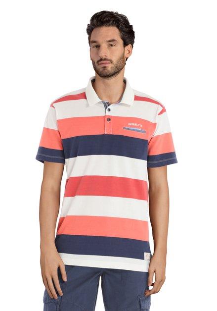 Polo blanc à rayures oranges et bleues