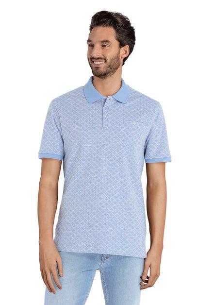 Polo bleu à motif géométrique