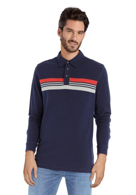 Polo bleu avec motif ligné à manches longues