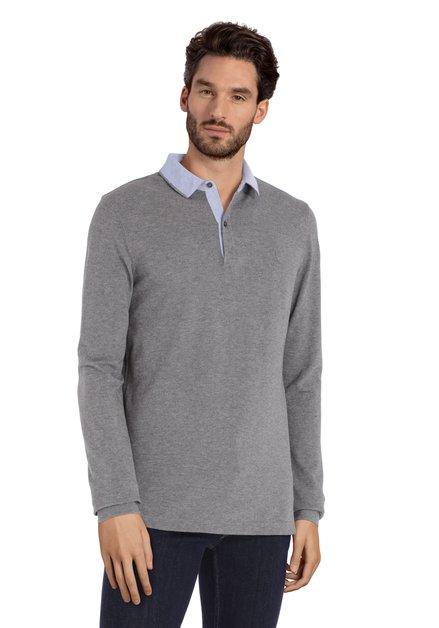 Polo en coton gris avec col bleu clair