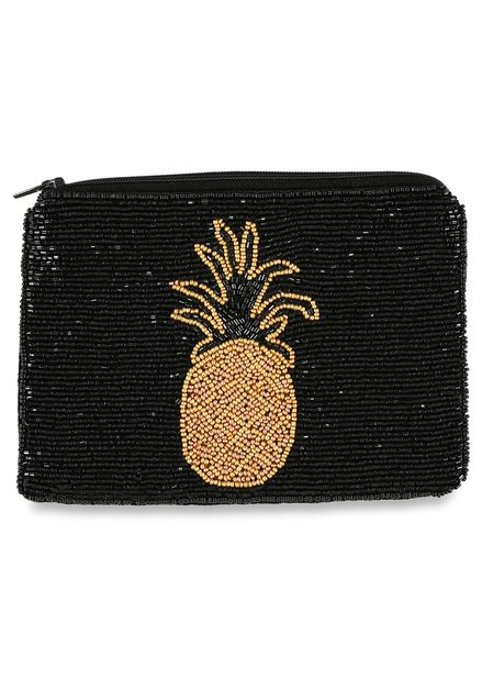 Portemonnaie noir à perles et ananas doré