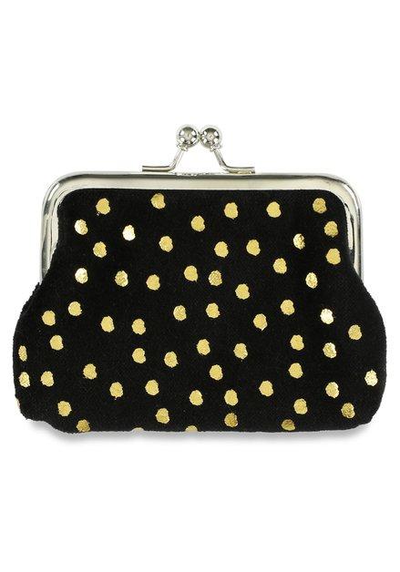 Portemonnaie noire à pois dorés