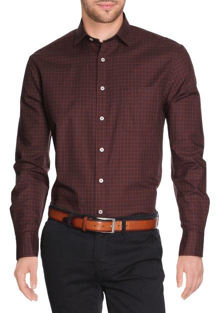 Portokleurig geruit hemd - comfort fit