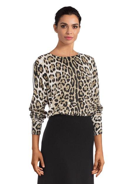 Pull beige avec imprimé léopard