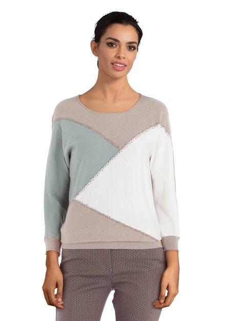 Pull beige avec motif géométrique et strass