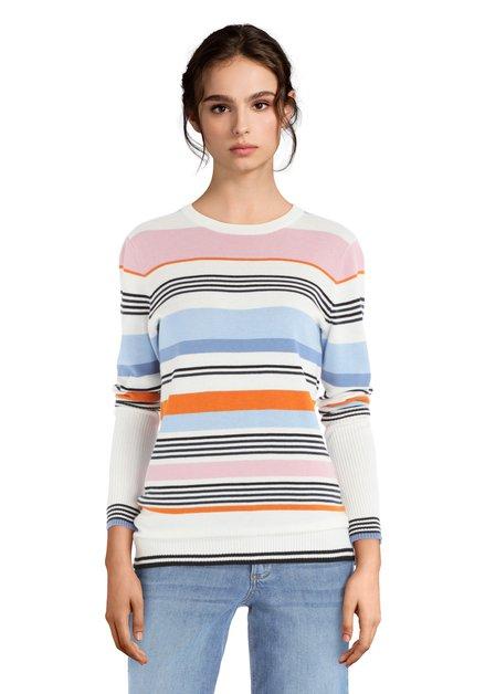 Pull blanc à rayures colorées