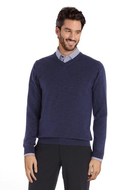 Pull bleu avec col en V en laine mérinos
