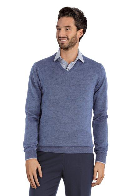 Pull bleu avec col en V et laine de mérinos