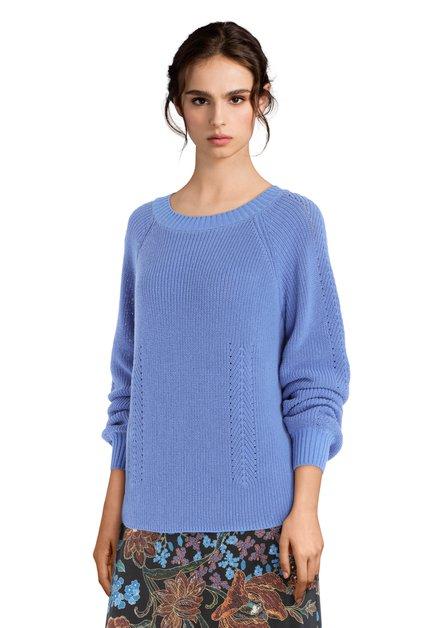 Pull bleu clair en coton à encolure ronde