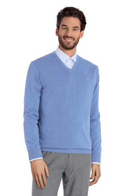 Pull bleu clair en coton avec col en V