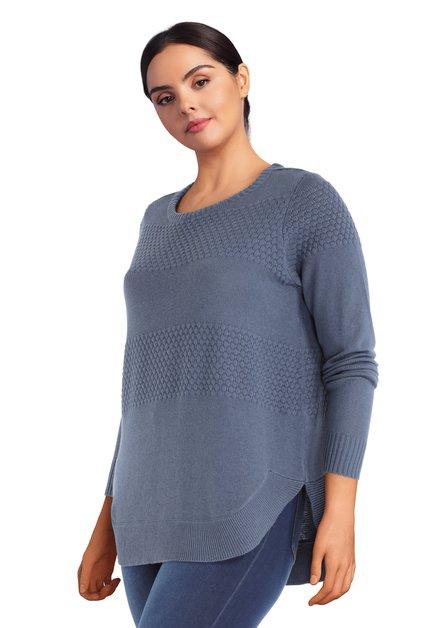 Pull bleu en tricot à encolure ronde