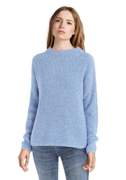 Pull bleu et blanc en tricot