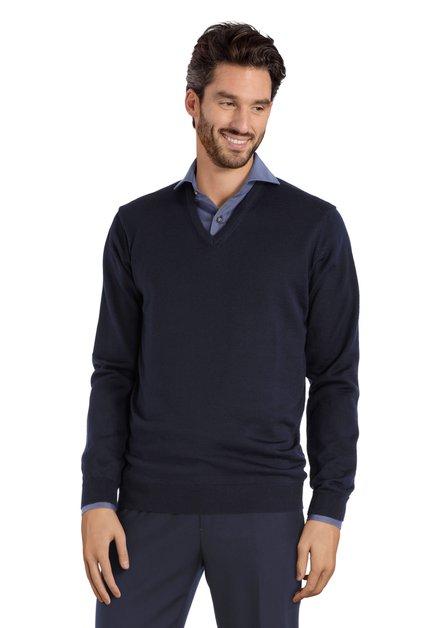 Pull bleu foncé avec col en V et laine de mérinos