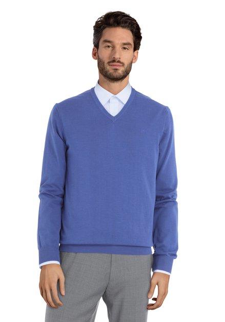 Pull bleu foncé en coton avec col en V