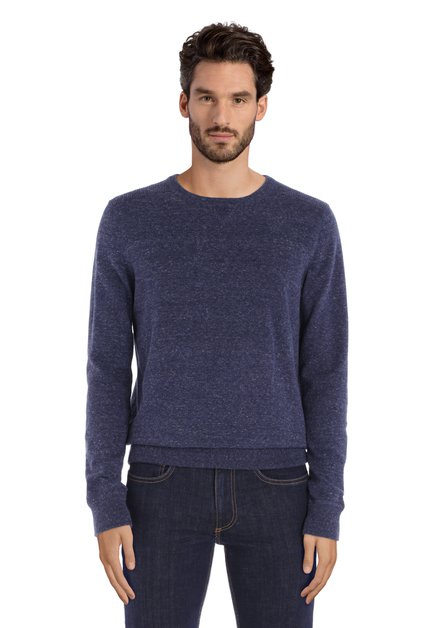 Pull bleu marine en coton à col rond