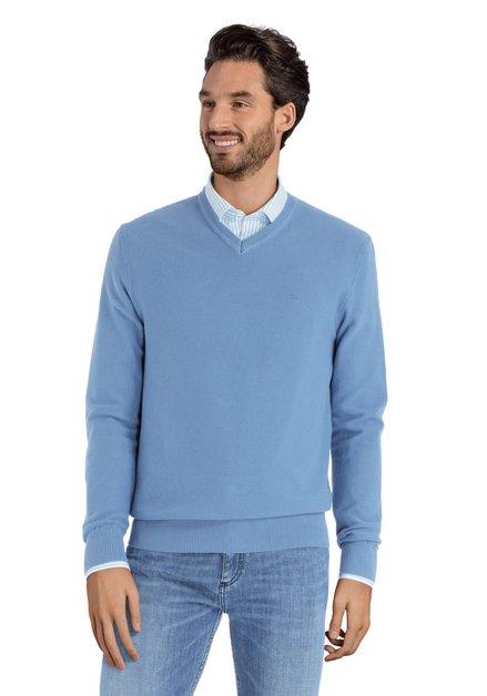 Pull en coton bleu clair avec col en V
