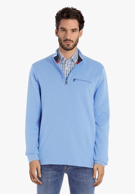 Pull en coton bleu clair avec tirette courte
