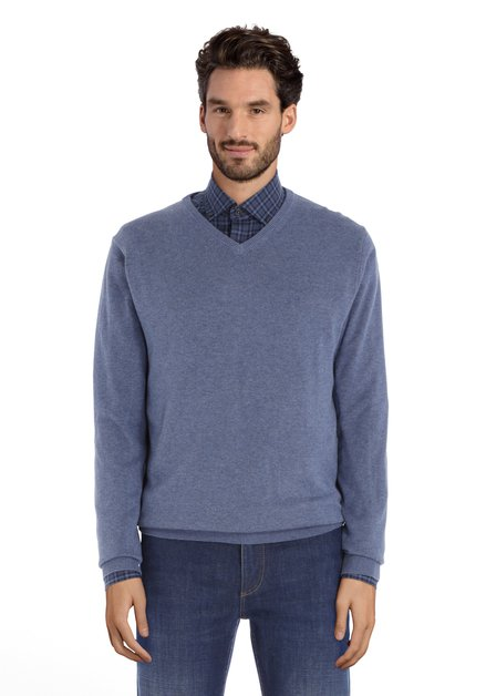 Pull en coton bleu moyen avec col en V côtelé