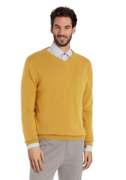 Pull en coton jaune moutarde avec col en V côtelé