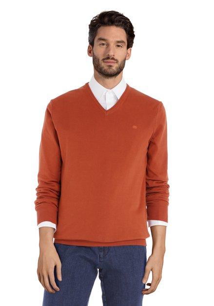 Pull en coton orange avec col en V côtelé