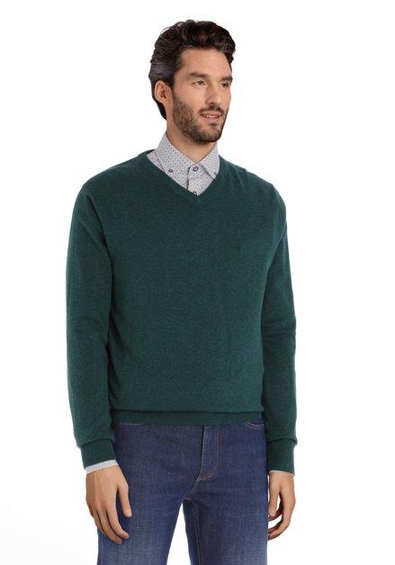 Pull en coton vert foncé avec col en V côtelé