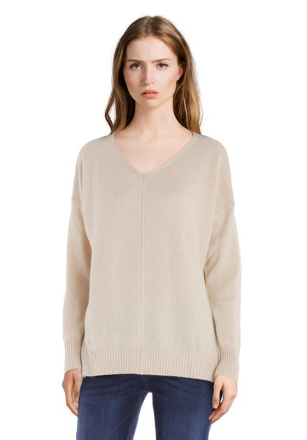 Pull en laine beige avec encolure en V