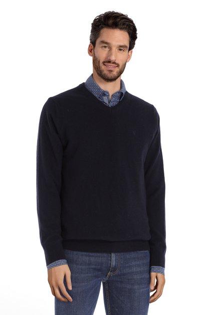 Pull en laine bleu marine avec col en V côtelé