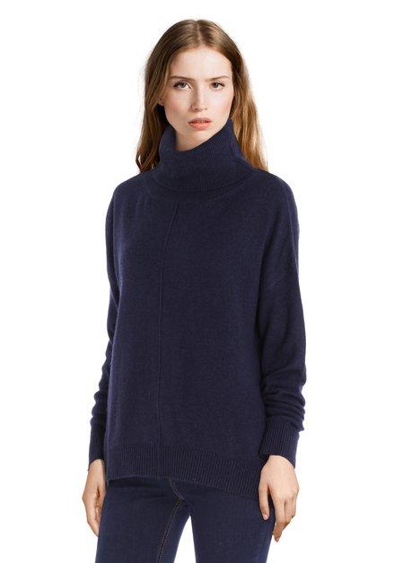 Pull en laine bleu marine avec col roulé