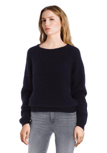 Pull en tricot bleu marine avec mohair
