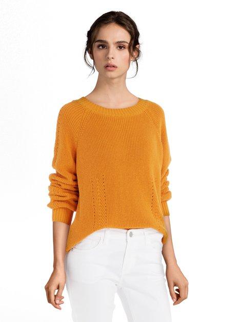 Pull en tricot orange à encolure ronde