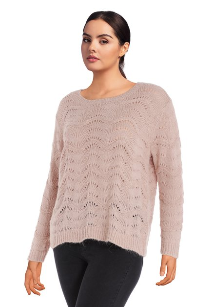 Pull en tricot vieux rose avec motif en ajour