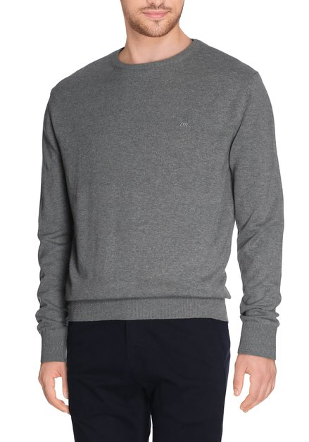 Pull gris à col rond
