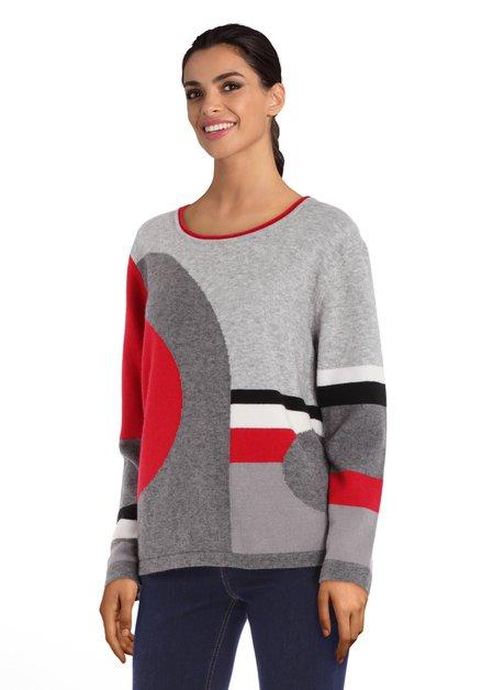 Pull gris à formes noir-rouge