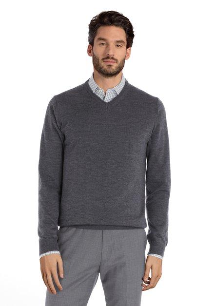 Pull gris avec col en V en laine mérinos