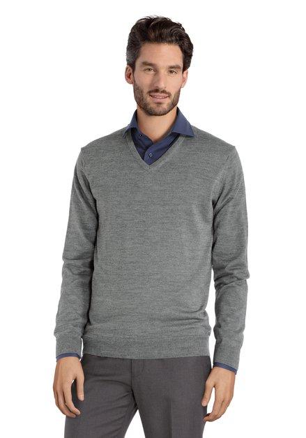Pull gris avec col en V et laine de mérinos
