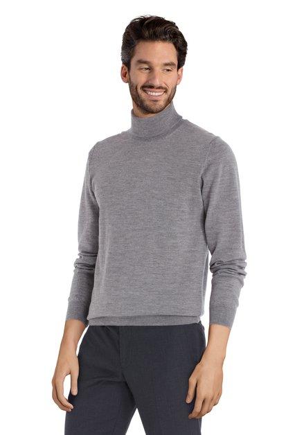 Pull gris avec col roulé en laine mérinos