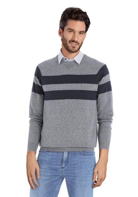 Pull gris avec lignes bleues et encolure ronde