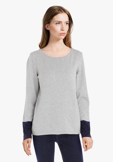 Pull gris clair en jersey fin