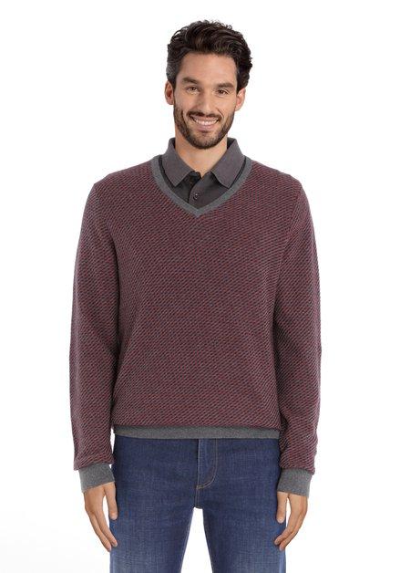 Pull gris foncé en coton tricoté avec col en V