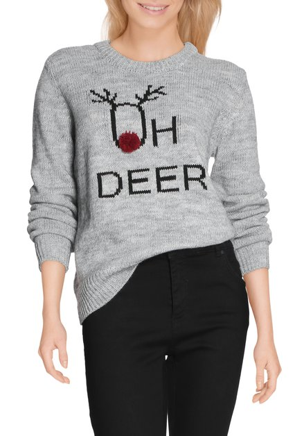 Pull gris 'oh deer' à encolure ronde