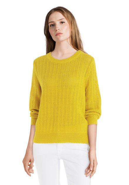 Pull jaune en coton à encolure ronde