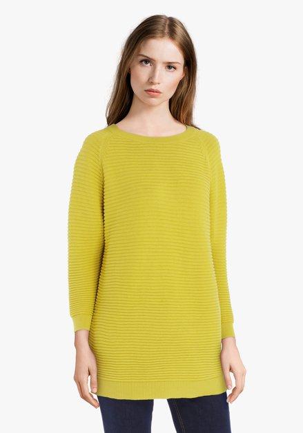 Pull jaune néon en coton côtelé