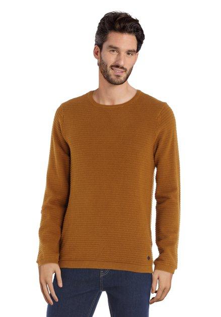 Pull marron doré avec col rond en coton côtelé