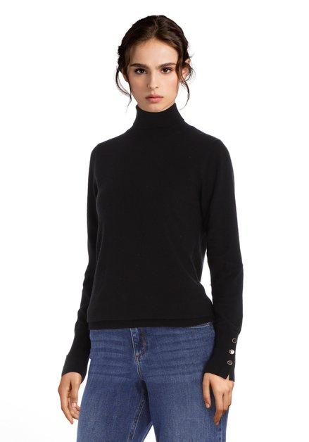 Pull noir avec col roulé en jersey doux