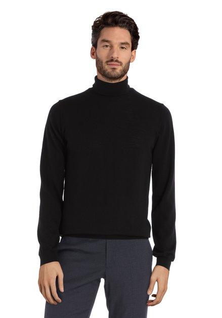 Pull noir avec col roulé en laine mérinos